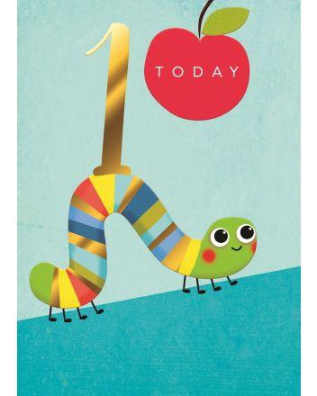 Second Nature Caterpillar Blue Happy 1st Birthday Card