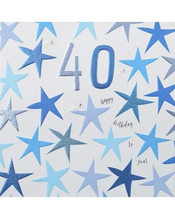 Rainbow Drops Blue 40th Birthday Card