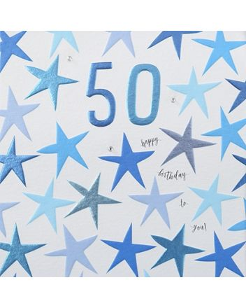 Rainbow Drops Blue 50th Birthday Card