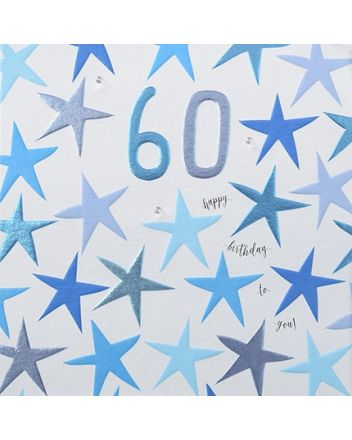 Rainbow Drops Blue 60th Birthday Card