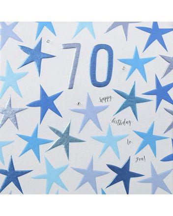 Rainbow Drops Blue 70th Birthday Card