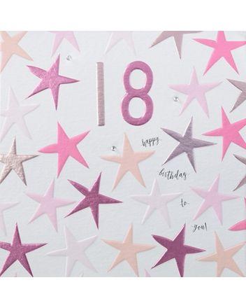 Rainbow Drops Pink 18th Birthday Card