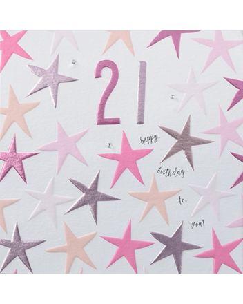 Rainbow Drops Pink 21st Birthday Card