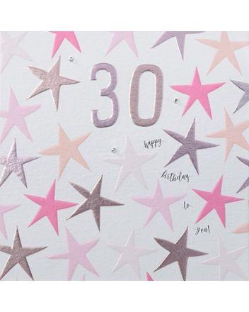 Rainbow Drops Pink 30th Birthday Card