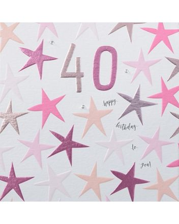 Rainbow Drops Pink 40th Birthday Card