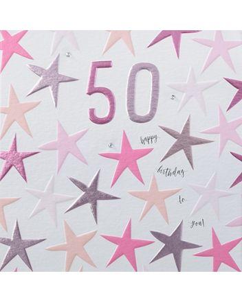 Rainbow Drops Pink 50th Birthday Card