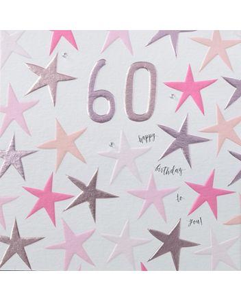 Rainbow Drops Pink 60th Birthday Card