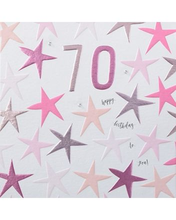 Rainbow Drops Pink 70th Birthday Card