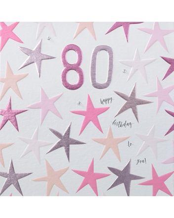 Rainbow Drops Pink 80th Birthday Card