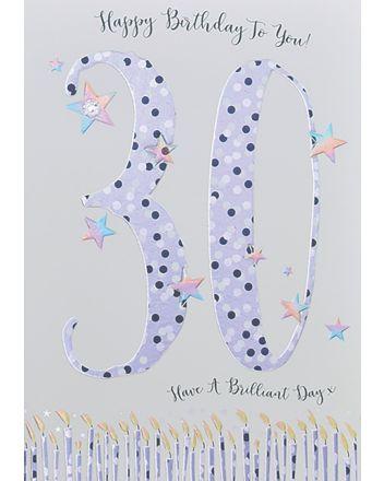 WJB Star Dusted 30th Birthday Card
