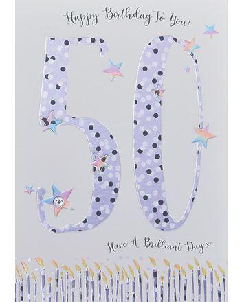 WJB Star Dusted 50th Birthday Card