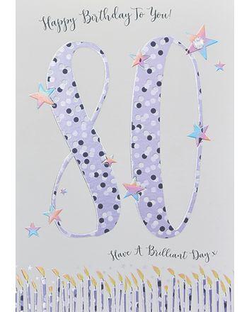 WJB Star Dusted 80th Birthday Card