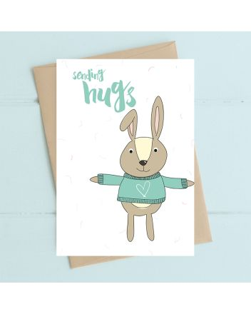Dandelion Bunny Sending Hugs Birthday Card