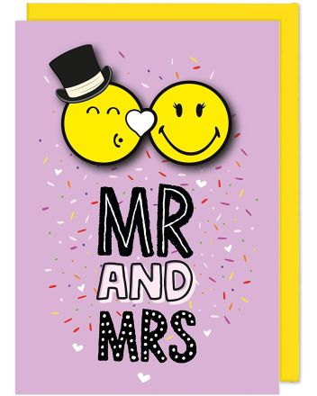 Tache Smiley Mr and Mrs Wedding Card