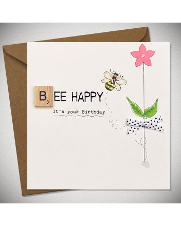 Bexy Boo Scrabbley Neon Bee Happy Birthday Card