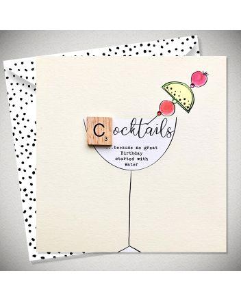 Bexy Boo Scrabbley Neon Cocktails Birthday Card