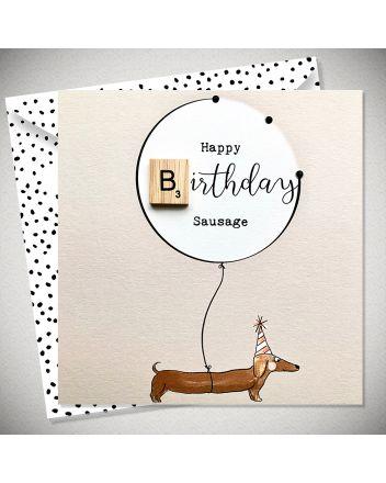Bexy Boo Scrabbley Neon Sausage Birthday Card