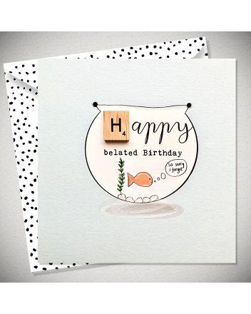 Bexy Boo Scrabbley Neon Belated Birthday Card