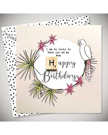 Bexy Boo Scrabbley Neon Mum Birthday Card