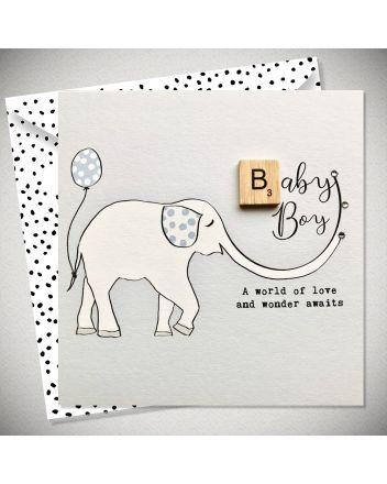 Bexy Boo Scrabbley Neon Baby Boy Card