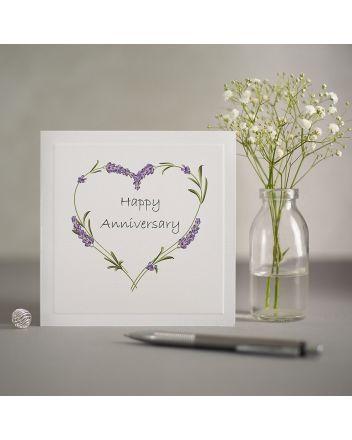 Mrs Lovesy Purple Flowers Anniversary Greeting Card