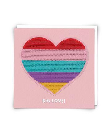 Redback Rainbow Heart Sequin Greeting Card