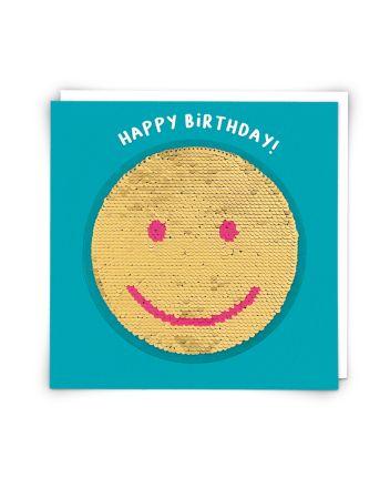 Redback Smiley Face Sequin Birthday Card