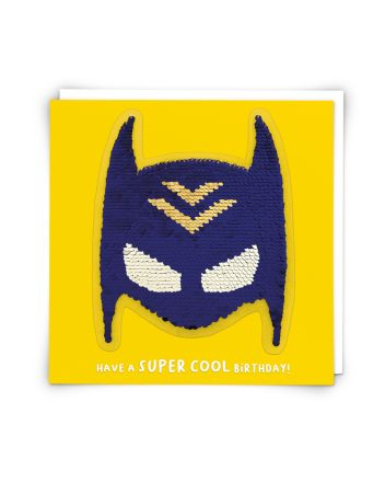 Redback Superhero Cowl Sequin Birthday Card