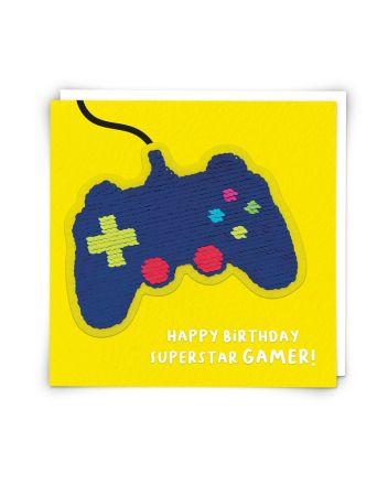 Redback Game Controller Sequin Birthday Card