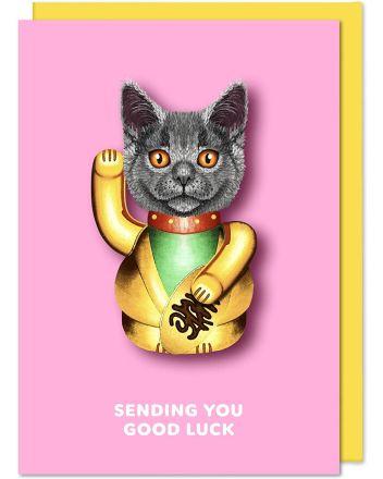 Tache Lucky Cat Good Luck Card