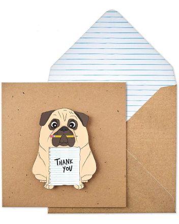 Tache Pug Thank You Card