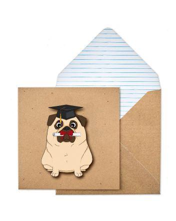 Tache Pug Graduation Card