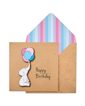 Tache Elephant Happy Birthday Card