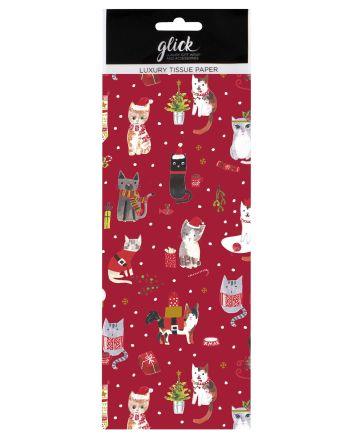 Luxury Festive Cats Christmas Tissue Paper