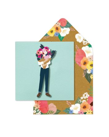 Tache Man With Flowers Blank Card