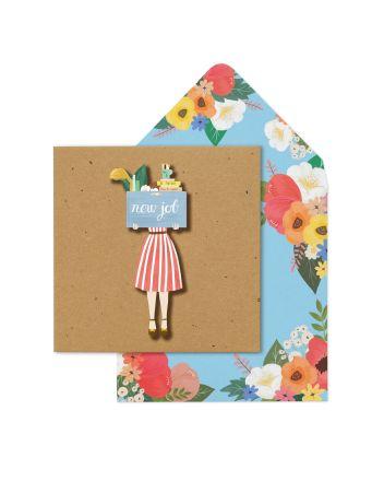 Tache Vintage Girl New Job Card