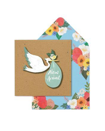 Tache Blue Stork New Baby Card