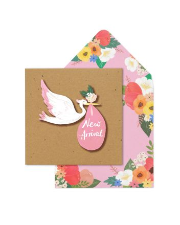 Tache Pink Stork New Baby Card