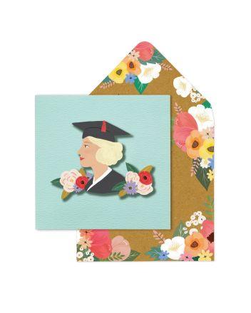 Tache Floral Girl Graduation Card