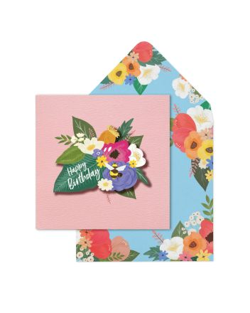 Tache Flowers Happy Birthday Card