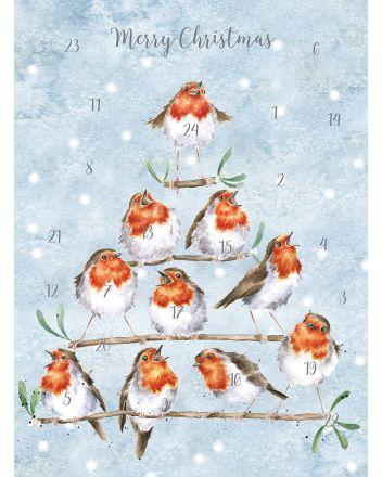 Wrendale Rockin Robins A4 Advent Calendar