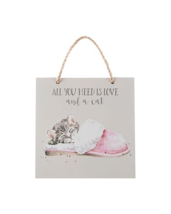 Wrendale All You Need Is Love and a Cat Plaque