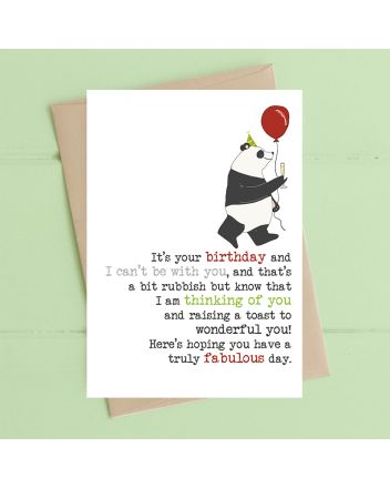 Dandelion Panda Can't be With You Birthday Card