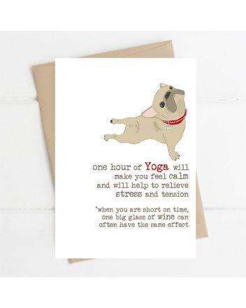 Dandelion French Bulldog Yoga Birthday Card