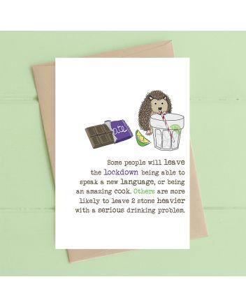 Dandelion Hedgehog Drinking Problem Birthday Card