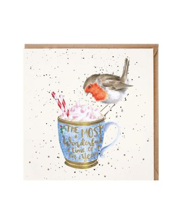 Wrendale Robin and Hot Chocolate Christmas Card