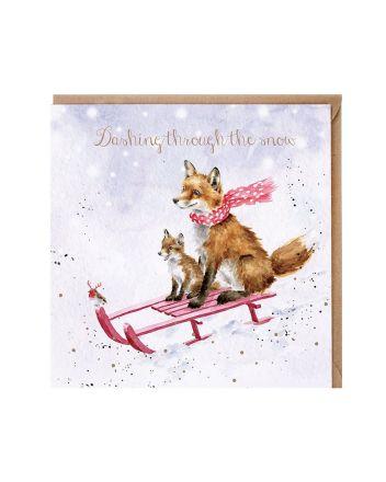 Wrendale Fox Sleigh Ride Christmas Card