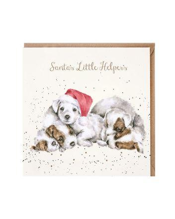 Wrendale Puppies Santas Little Helpers Christmas Card