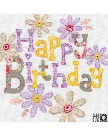 Blue Eyed Sun Vintage Floral Happy Birthday Card