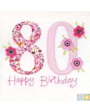BES Floral Happy 80th Birthday Card